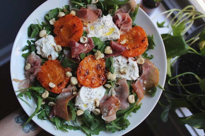 Grilled Apricot and Burrata Salad with Prosciutto by Emily Novak of Em and Everything