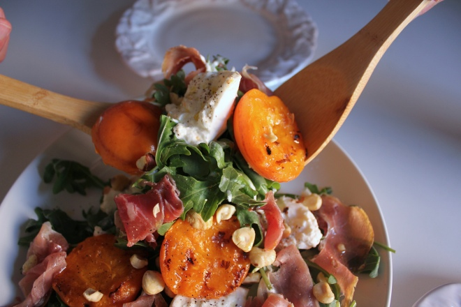 Grilled Apricot and Burrata Salad with Prosciutto by Emily Novak of Em & Everything